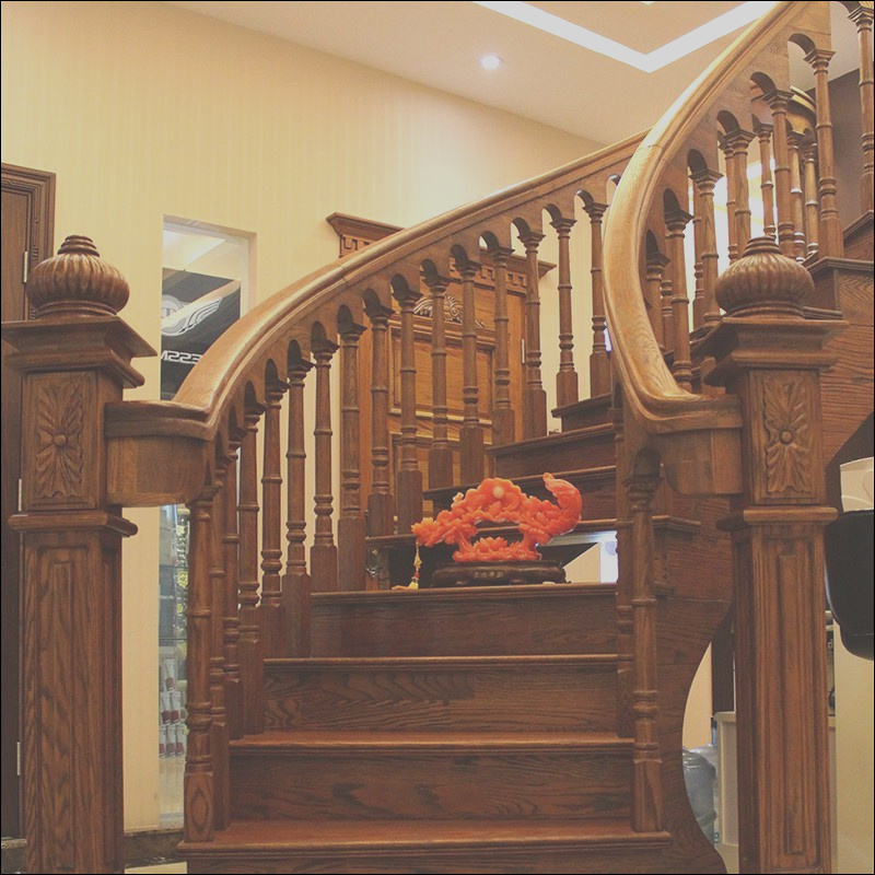 China Wood Steps Design Residential Wooden Spiral Stairs GSP16 010