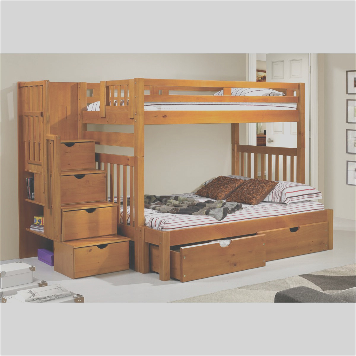 Tall Twin Over Twin Mission Stairway Bunk Bed with Storage Drawers 200H T 505 DONC1223