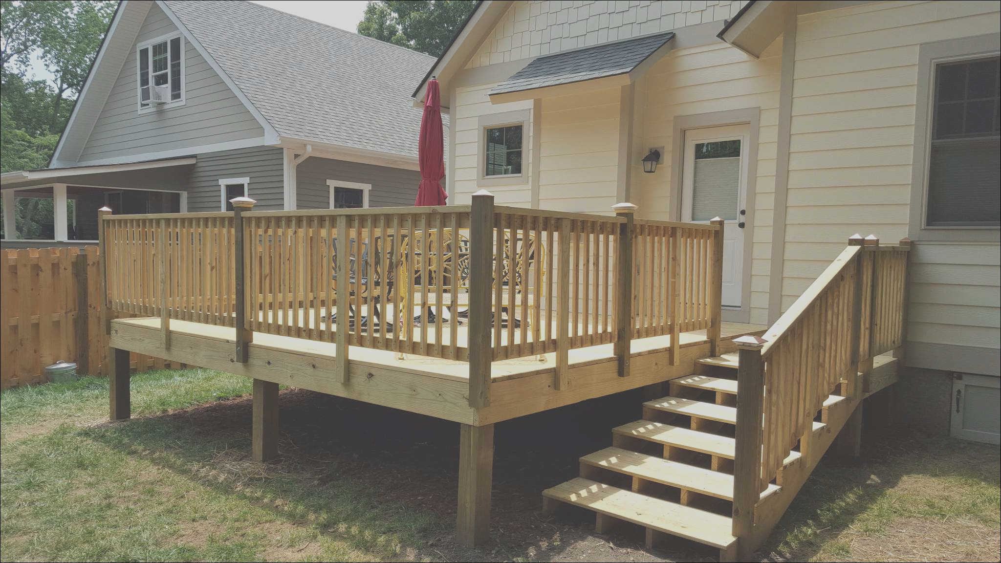 fence deck stairs wooden decking 2