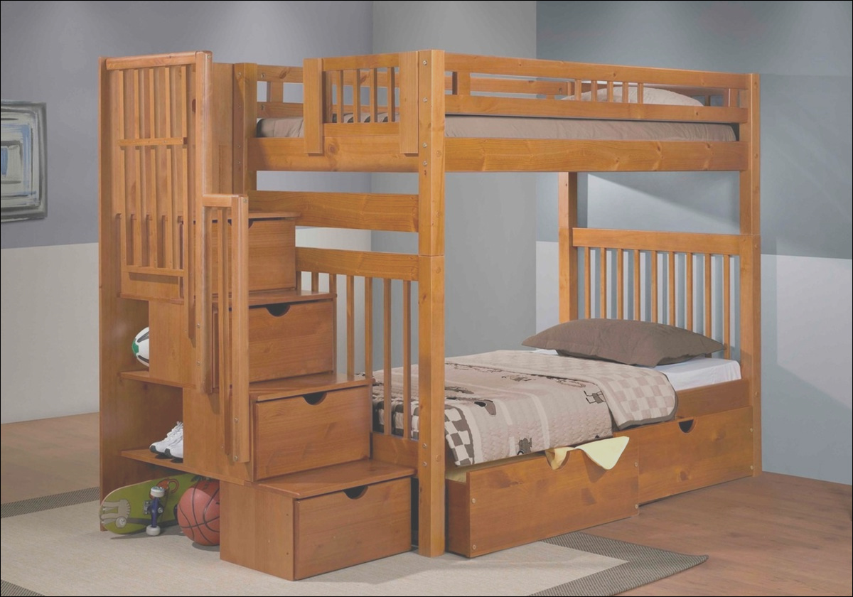 staircase bunk bed pecan