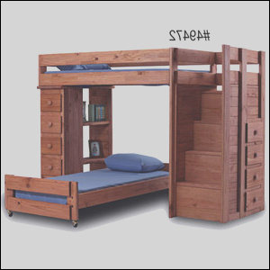 item Solid Wood Loft Bed With Stairs PC apc