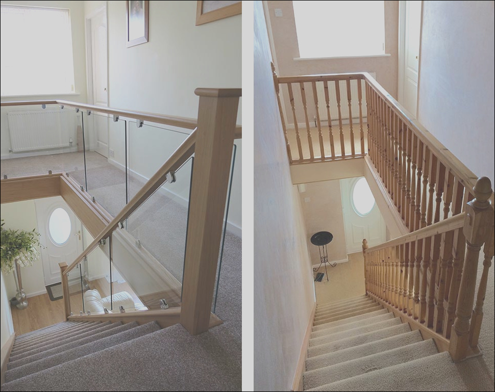 before and after glass wood staircase renovations