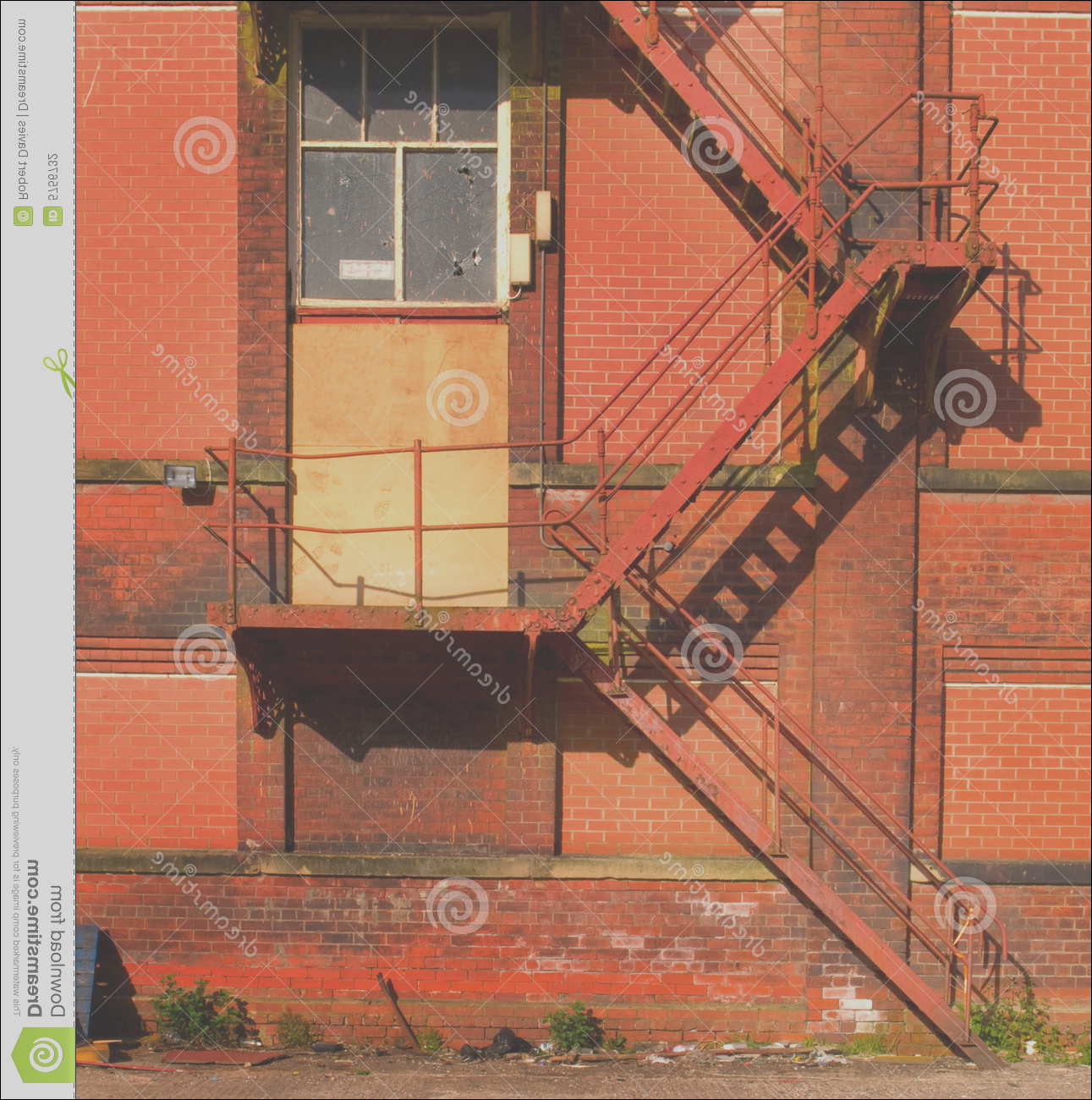 stock photography rusty old fire escape stairs warehouse image