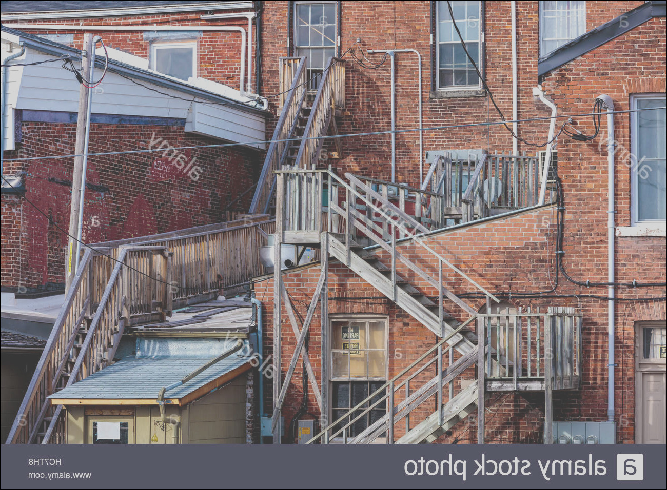 stock photo stairs staircase wooden fire escape lane behind historic walton street