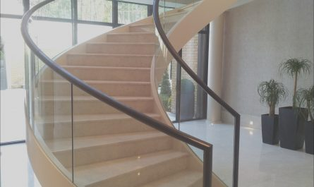 Wooden Stairs Glass Balustrades Unique Fabricated Mild Steel Helical Staircase with Structural