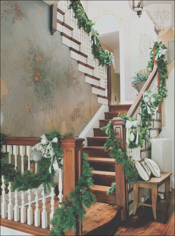 impressive christmas staircase decorations draw inspiration